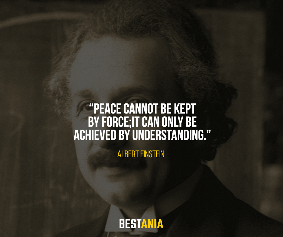 Peace cannot be kept by force; it can only be achieved by understanding. Albert Einstein