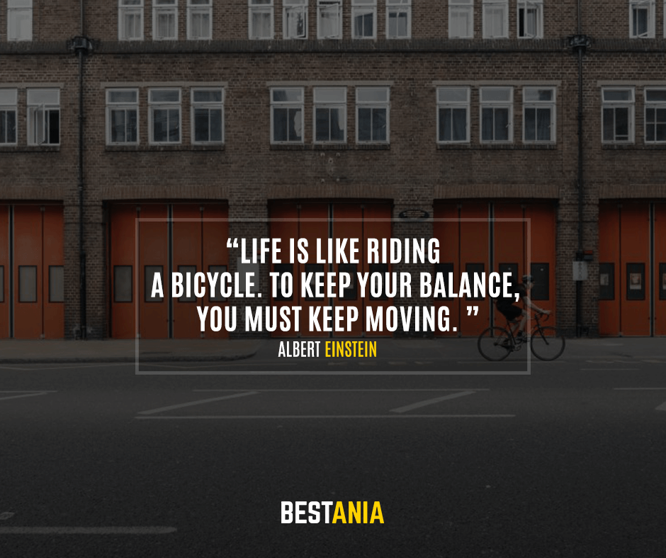Life is like riding a bicycle. To keep your balance, you must keep moving. Albert Einstein