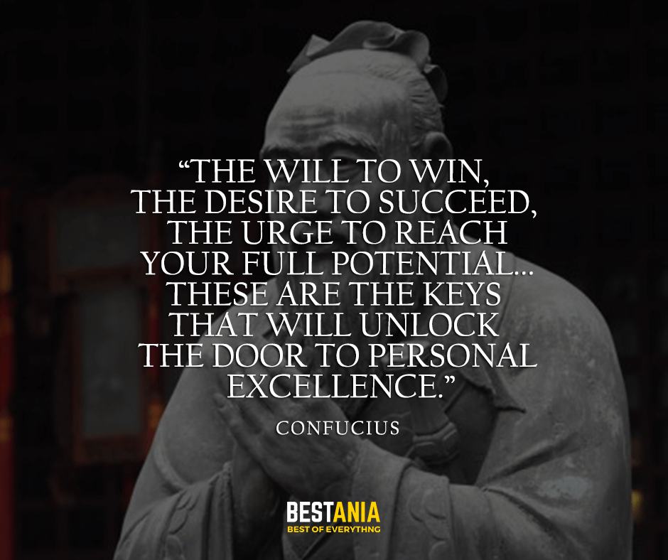The will to win, the desire to succeed, the urge to reach your full potential... these are the keys that will unlock the door to personal excellence. Confucius