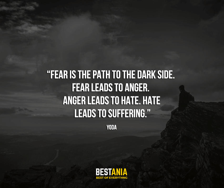 "Fear is the path to the dark side. Fear leads to anger. Anger leads to hate. Hate leads to suffering. ""Yoda"""