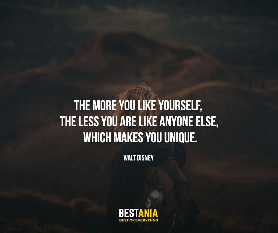 The more you like yourself, the less you are like anyone else, which makes you unique. Walt Disney
