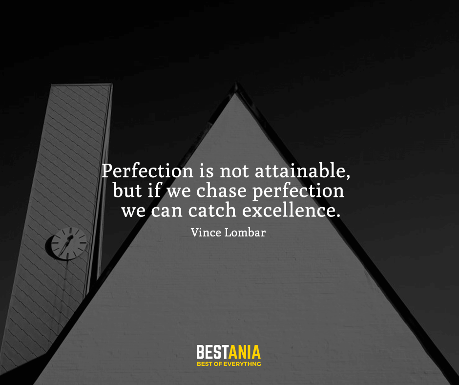 Perfection is not attainable, but if we chase perfection we can catch excellence. Vince Lombar