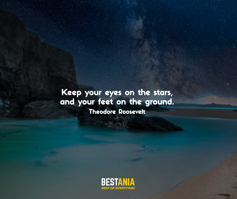 Keep your eyes on the stars, and your feet on the ground. Theodore Roosevelt