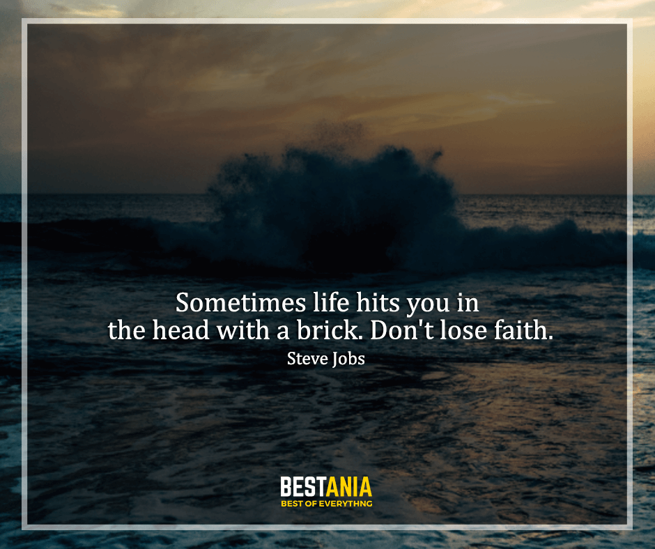 "Steve Jobs Quote,,,,""Sometimes life hits you in the head with a brick. Don't lose faith."" Steve Jobs"