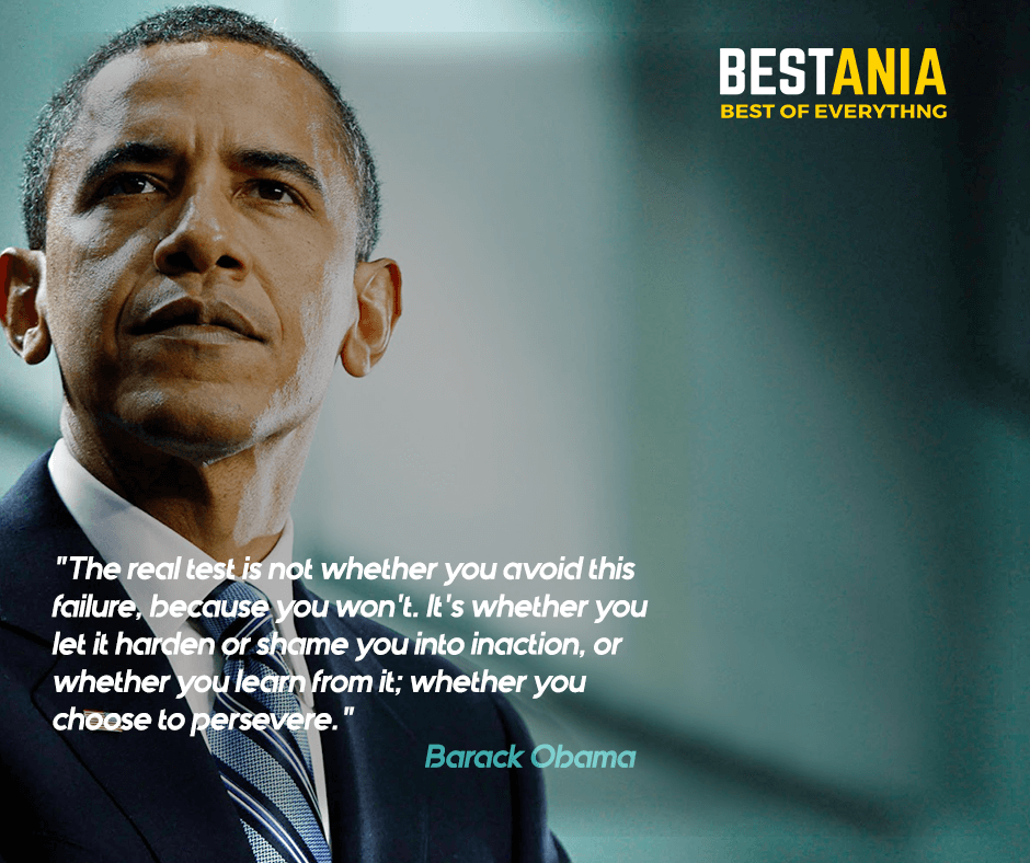 """The real test is not whether you avoid this failure because you won't. It's whether you let it harden or shame you into inaction, or whether you learn from it; whether you choose to persevere."" Barack Obama"