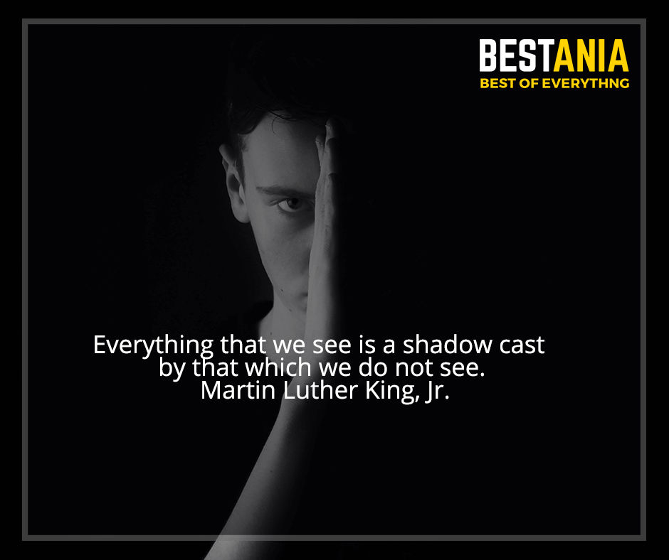 """""""Everything that we see is a shadow cast by that which we do not see"""" Martin Luther King, Jr."""