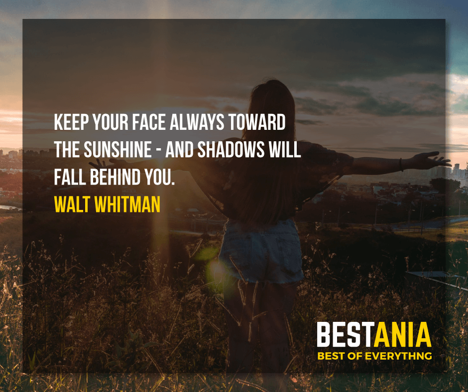 """KEEP YOUR FACE ALWAYS TOWARD THE SUNSHINE - AND SHADOWS WILL FALL BEHIND YOU.""  WALT WHITMAN"
