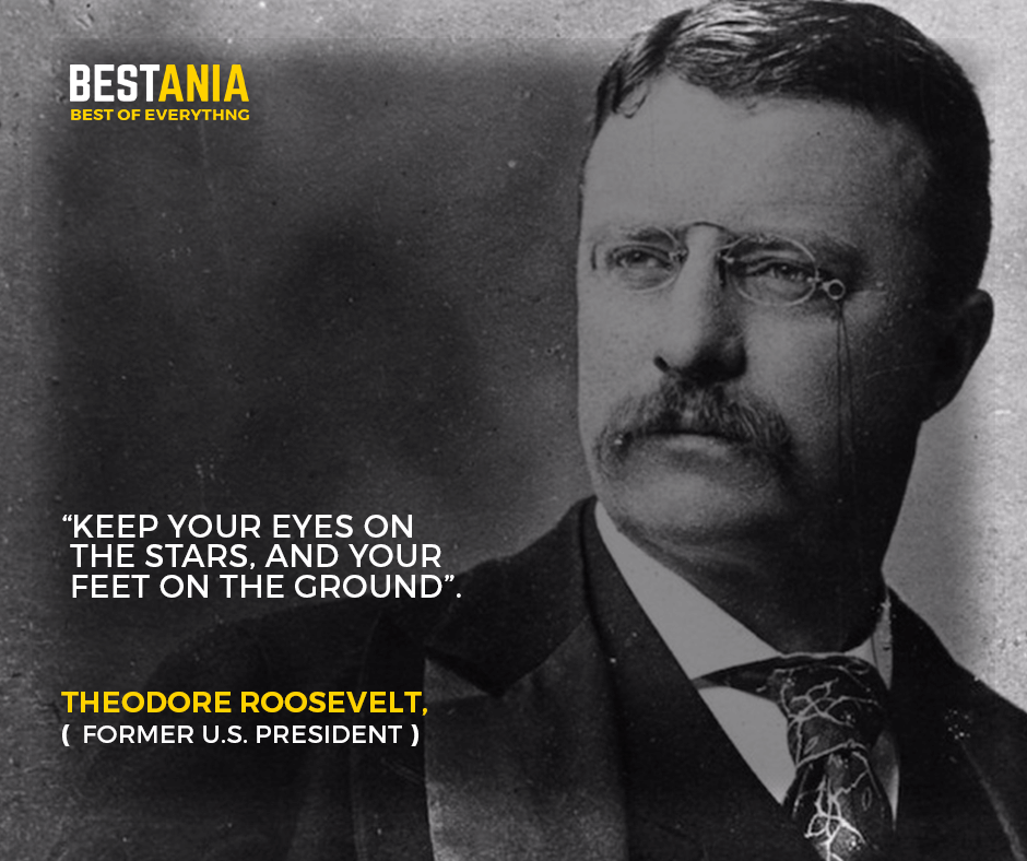 """""""Keep your eyes on the stars, and your feet on the ground"""".– Theodore Roosevelt, former U.S. President"""