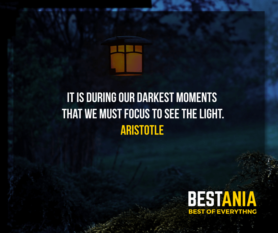 """IT IS DURING OUR DARKEST MOMENTS THAT WE MUST FOCUS TO SEE THE LIGHT.""  ARISTOTLE"