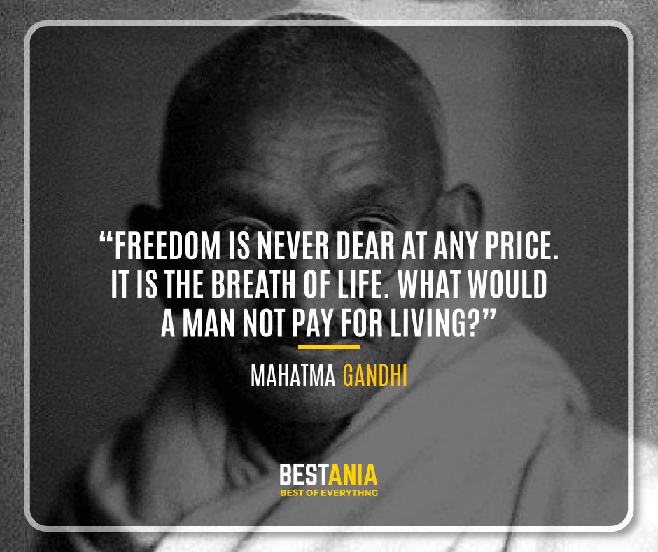 """""""FREEDOM IS NEVER DEAR AT ANY PRICE. IT IS THE BREATH OF LIFE. WHAT WOULD A MAN NOT PAY FOR LIVING?"""" MAHATMA GANDHI"""