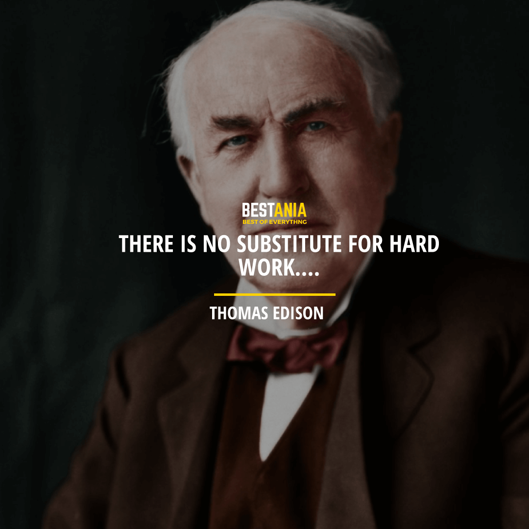 """""""THERE IS NO SUBSTITUTE FOR HARD WORK""""  THOMAS EDISON"""