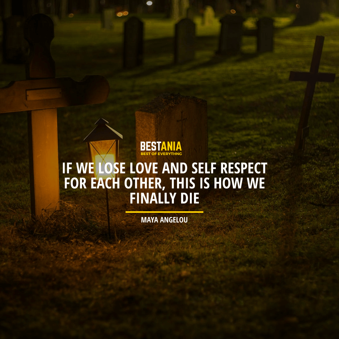 """""""IF WE LOSE LOVE AND SELF-RESPECT FOR EACH OTHER, THIS IS HOW WE FINALLY DIE"""". MAYA ANGELOU"""