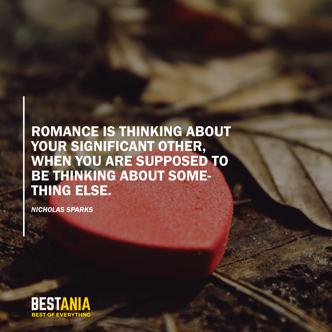 """ROMANCE IS THINKING ABOUT YOUR SIGNIFICANT OTHER, WHEN YOU ARE SUPPOSED TO BE THINKING ABOUT SOMETHING ELSE.""  NICHOLAS SPARKS"