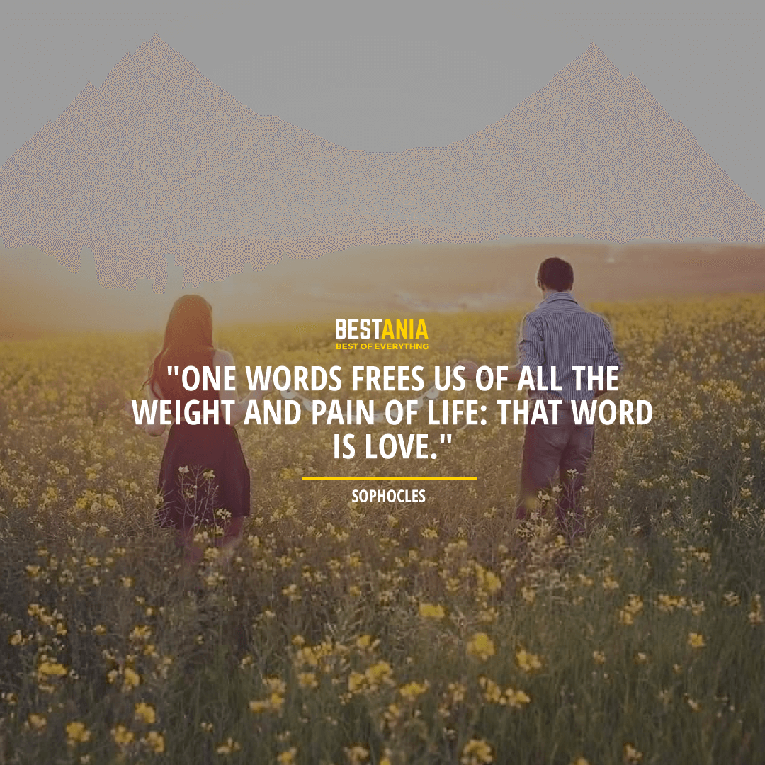 """""""ONE WORD FREES US OF ALL THE WEIGHT AND PAIN OF LIFE: THAT WORD IS LOVE.""""  ~ SOPHOCLES"""
