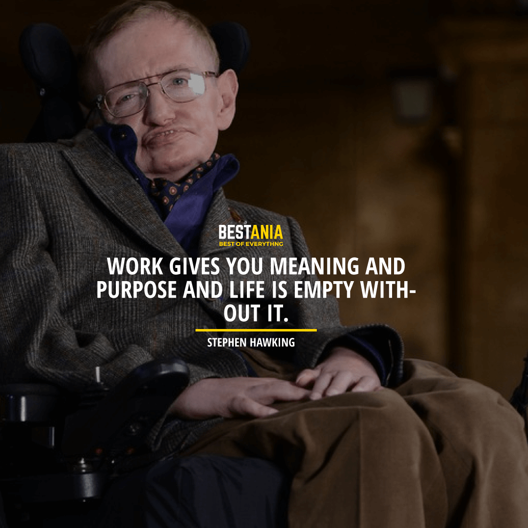 """""""WORK GIVES YOU MEANING AND PURPOSE AND LIFE IS EMPTY WITHOUT IT.""""  STEPHEN HAWKING"""