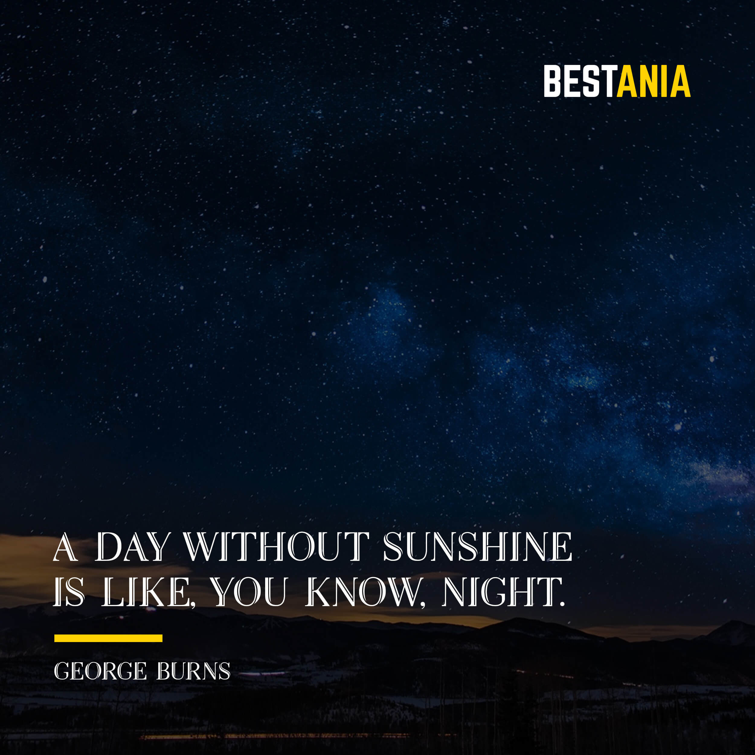 """A DAY WITHOUT SUNSHINE IS LIKE, YOU KNOW, NIGHT.""  STEVE MARTIN"