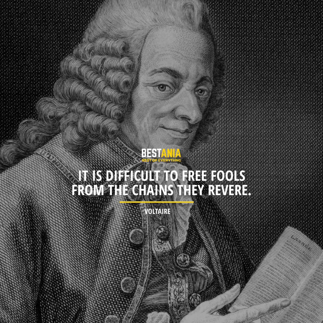 """IT IS DIFFICULT TO FREE FOOLS FROM THE CHAINS THEY REVERE.""  VOLTAIRE"