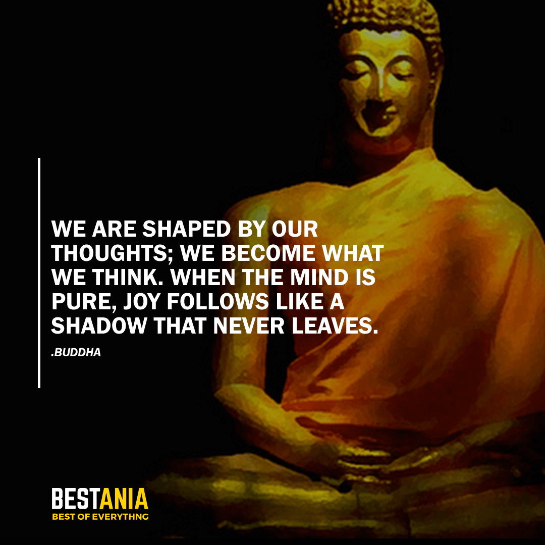 """WE ARE SHAPED BY OUR THOUGHTS; WE BECOME WHAT WE THINK. WHEN THE MIND IS PURE, JOY FOLLOWS LIKE A SHADOW THAT NEVER LEAVES."" BUDDHA"