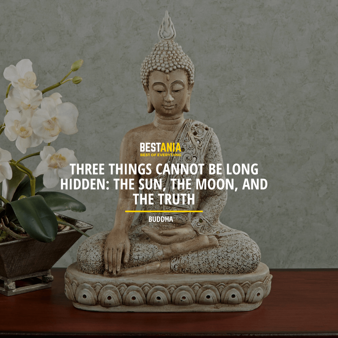 """THREE THINGS CANNOT BE LONG HIDDEN: THE SUN, THE MOON, AND THE TRUTH."" BUDDHA"
