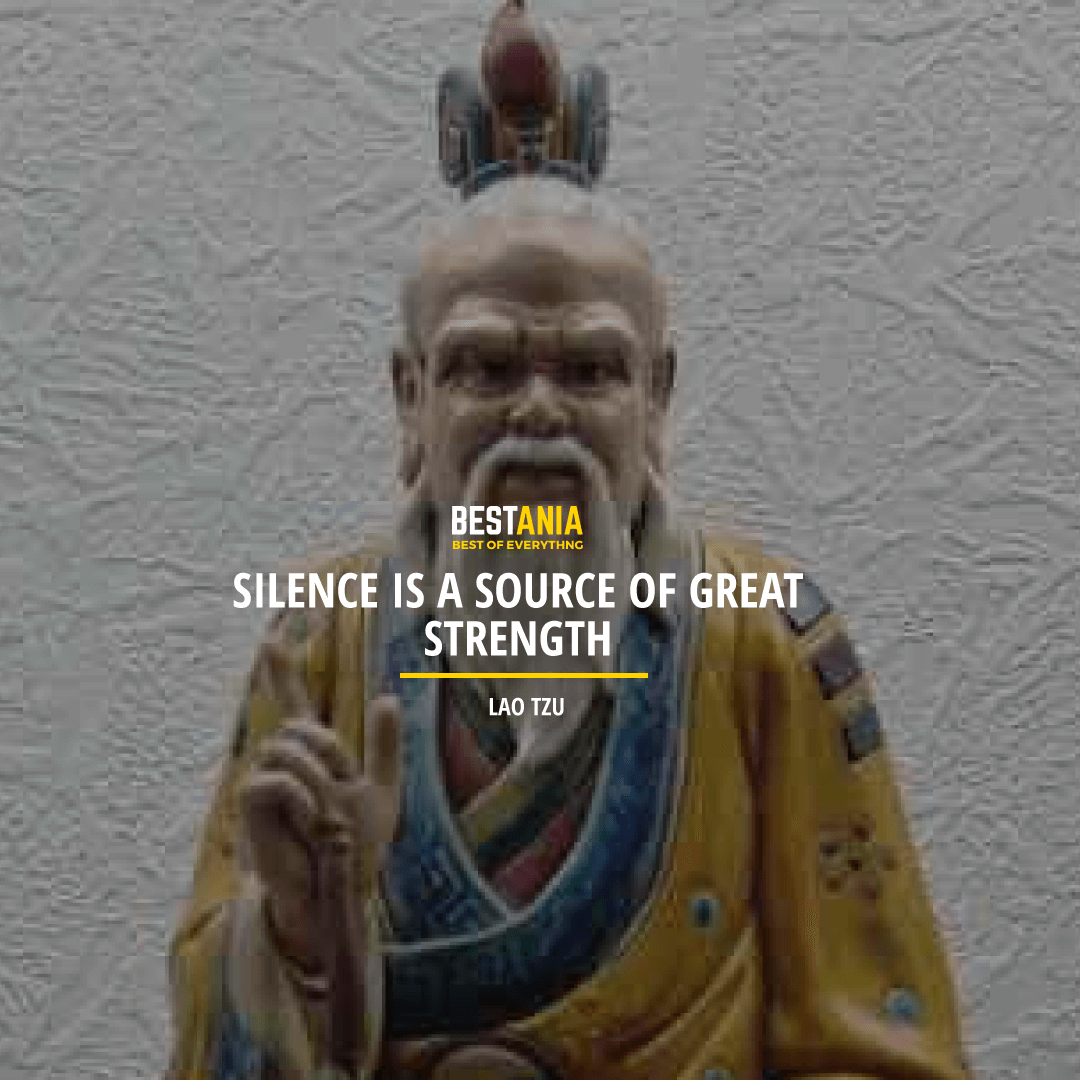 """SILENCE IS A SOURCE OF GREAT STRENGTH.""  LAO TZU"