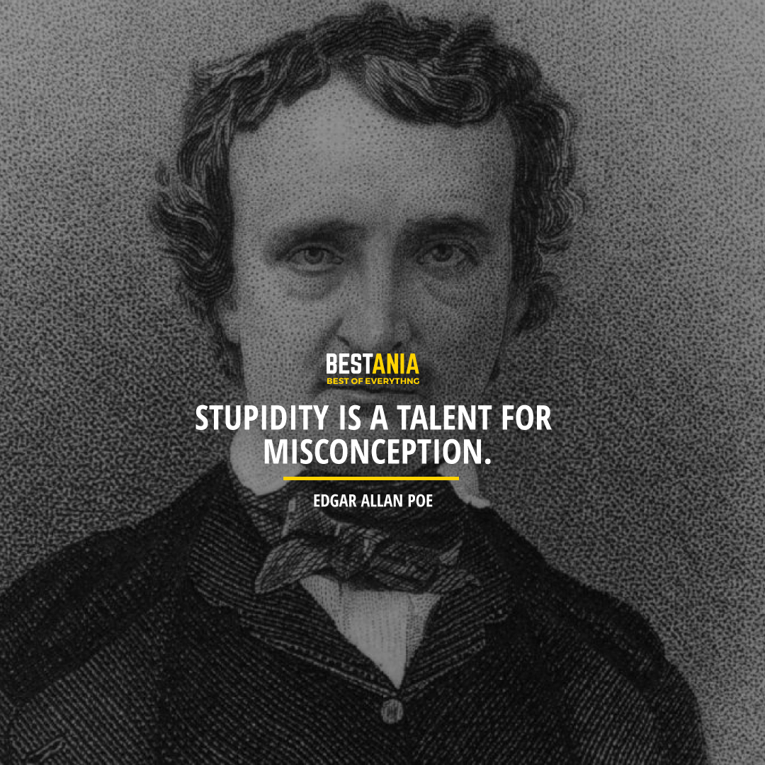 """STUPIDITY IS A TALENT FOR MISCONCEPTION.""  EDGAR ALLAN POE"