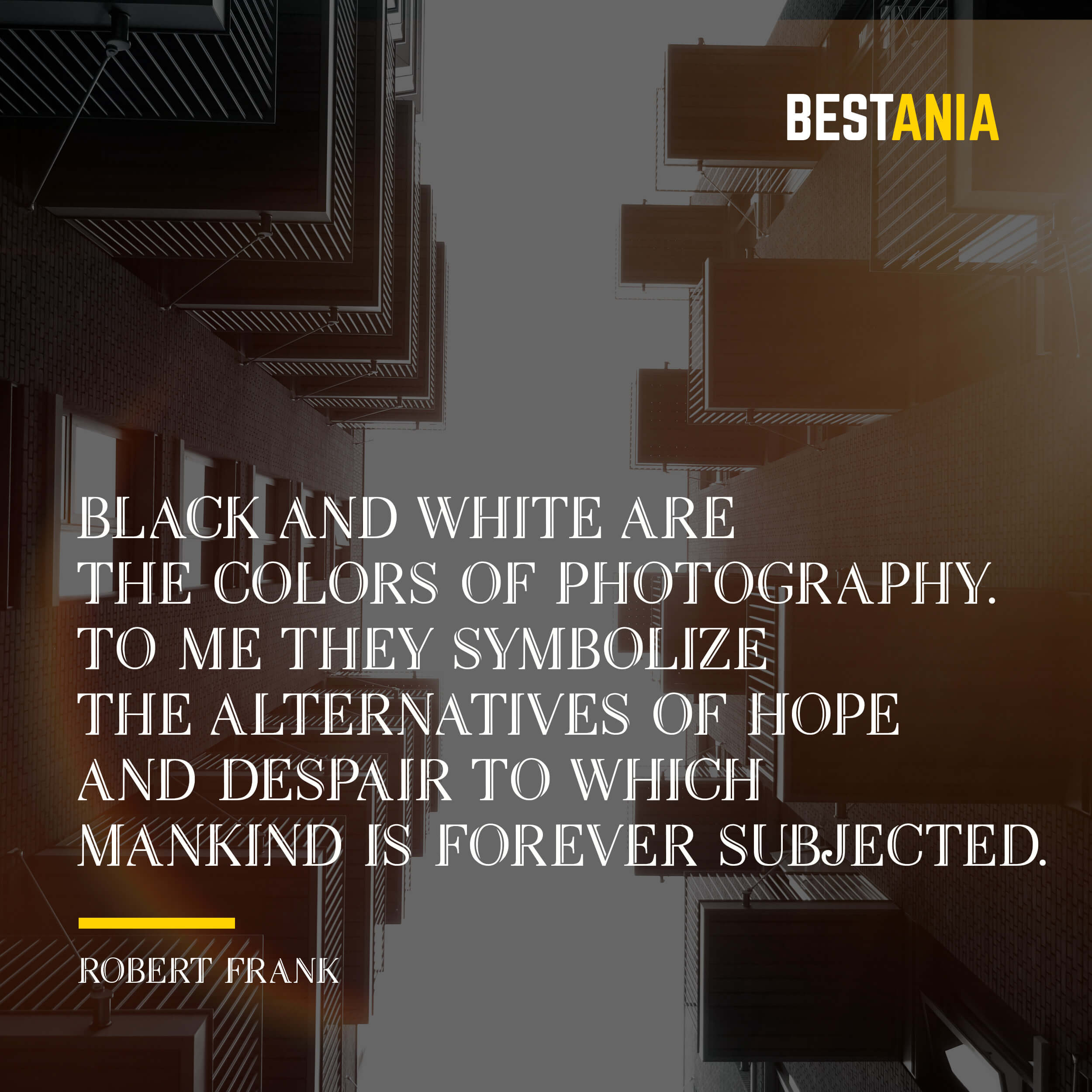 """BLACK AND WHITE ARE THE COLORS OF PHOTOGRAPHY. TO ME, THEY SYMBOLIZE THE ALTERNATIVES OF HOPE AND DESPAIR TO WHICH MANKIND IS FOREVER SUBJECTED."" ROBERT FRANK"