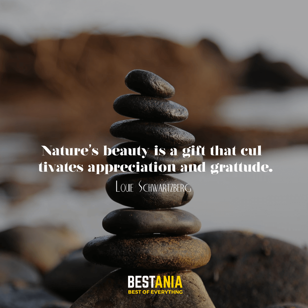 Nature's beauty is a gift that cultivates appreciation and gratitude. Louie Schwartzberg