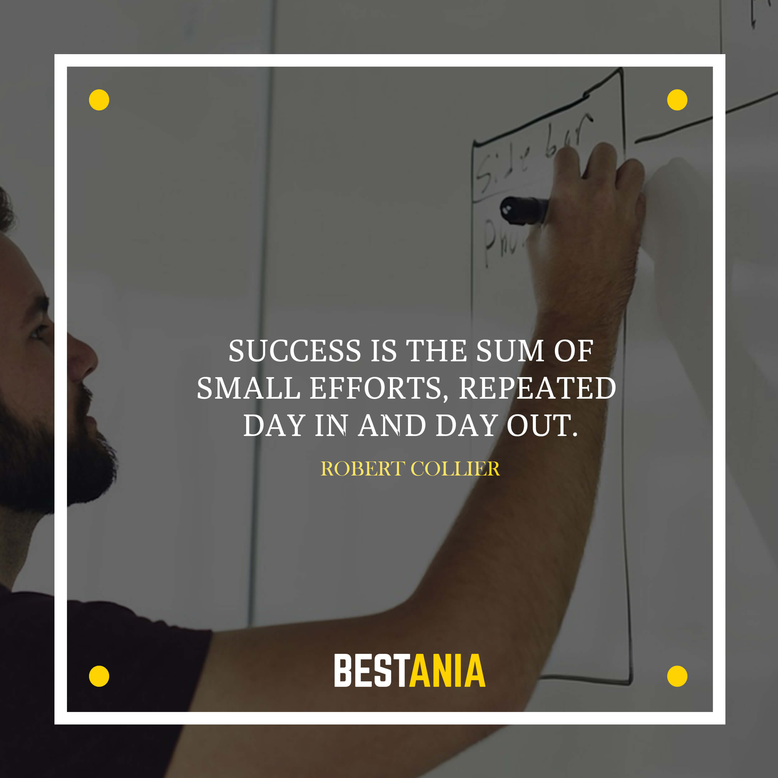 Success is the sum of small efforts, repeated day in and day out.– Robert Collier
