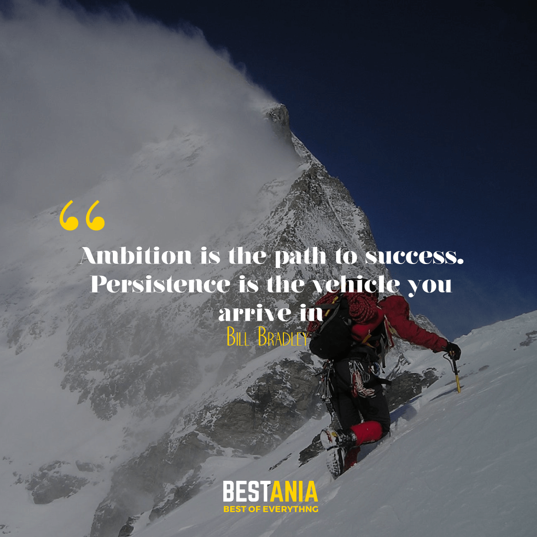 """Ambition is the path to success. Persistence is the vehicle you arrive in."" --Bill Bradley"