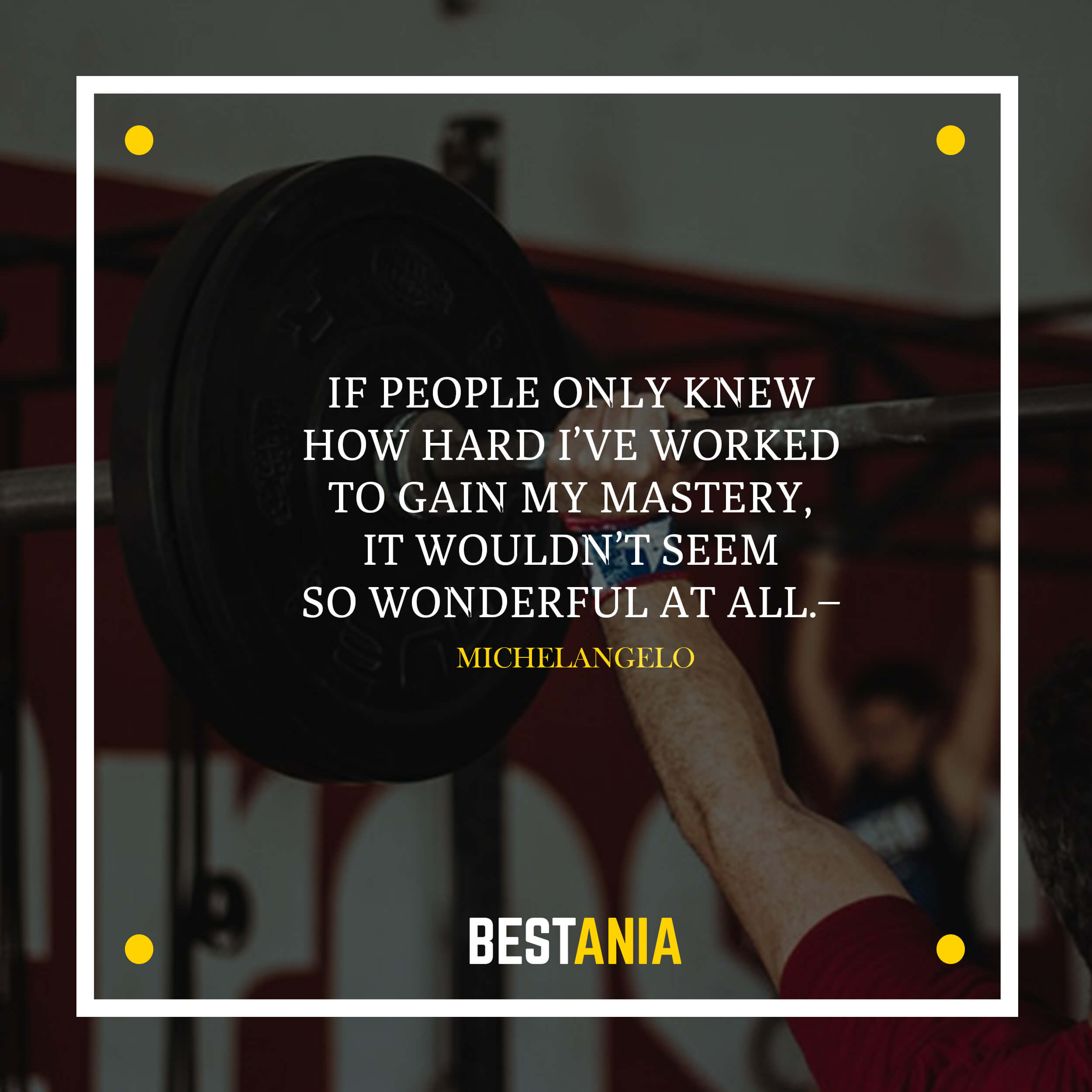 If people only knew how hard I've worked to gain my mastery, it wouldn't seem so wonderful at all.– Michelangelo
