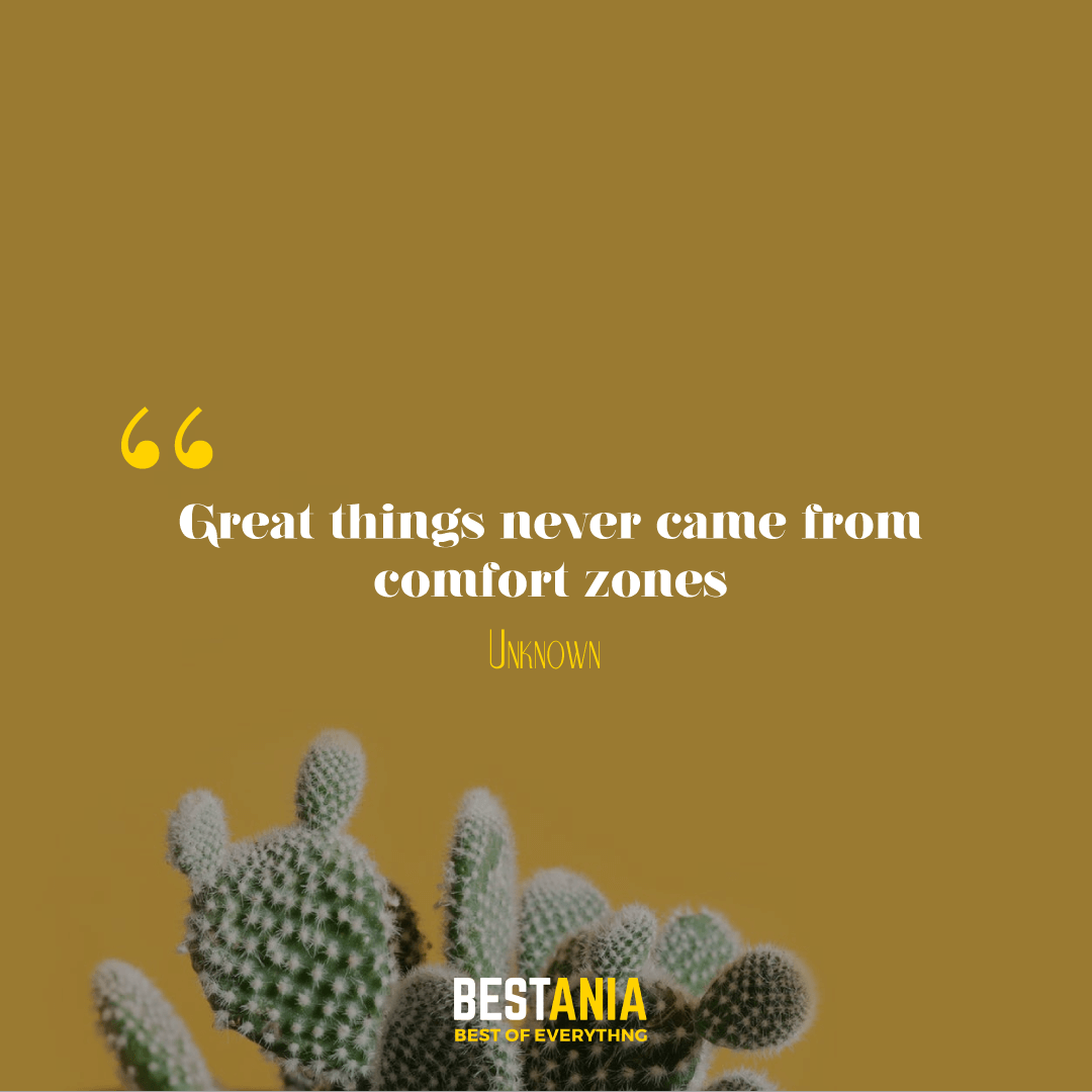 """Great things never came from comfort zones."""