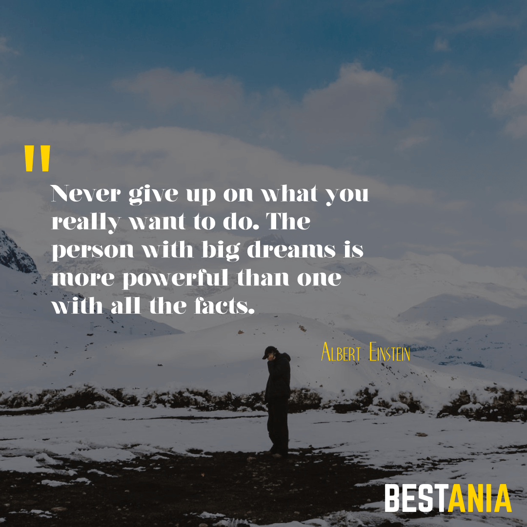 """""""Never give up on what you really want to do. The person with big dreams is more powerful than one with all the facts. """" – Albert Einstein"""