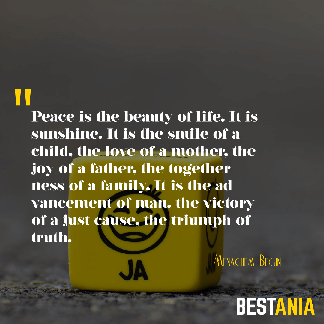 Peace is the beauty of life. It is sunshine. It is the smile of a child, the love of a mother, the joy of a father, the togetherness of a family. It is the advancement of man, the victory of a just cause, the triumph of truth. Menachem Begin