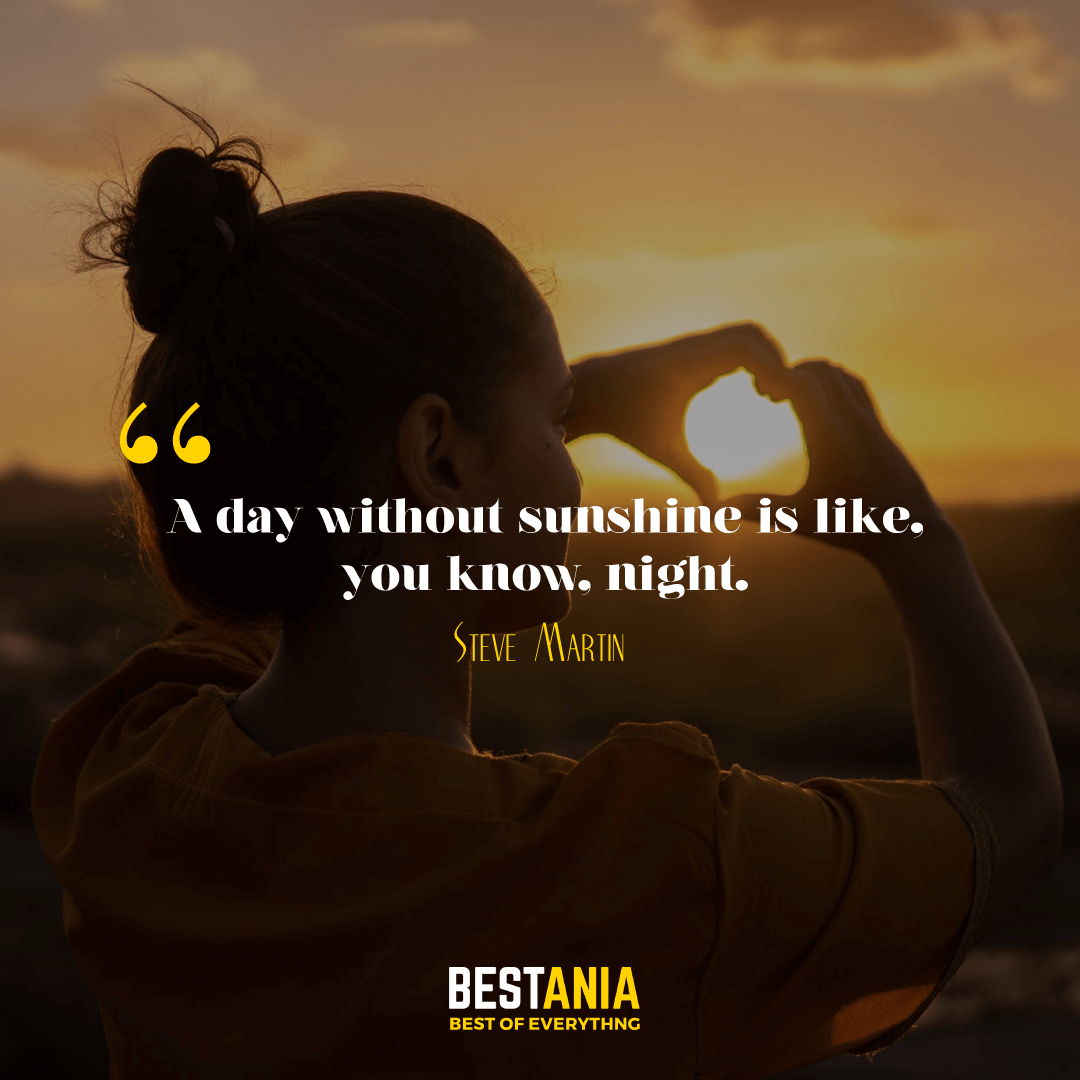 A day without sunshine is like, you know, night. Steve Martin………….