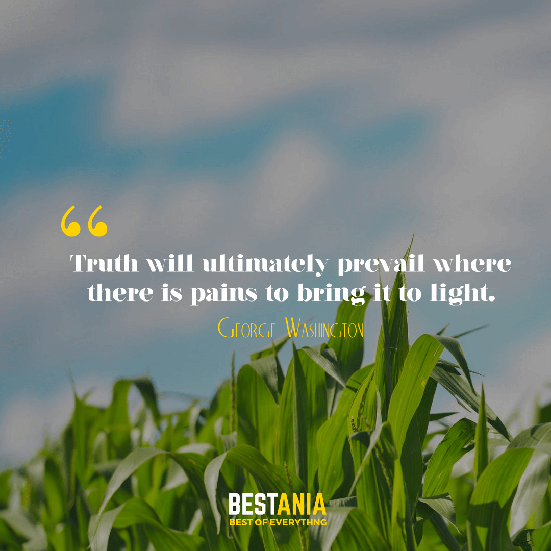 Truth will ultimately prevail where there is pains to bring it to light. George Washington