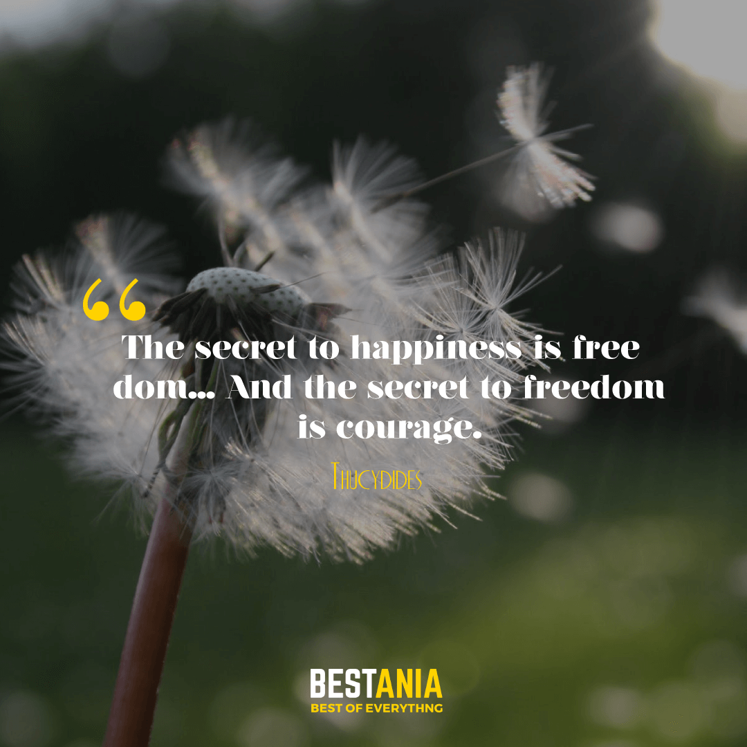 The secret to happiness is freedom... And the secret to freedom is courage. Thucydides