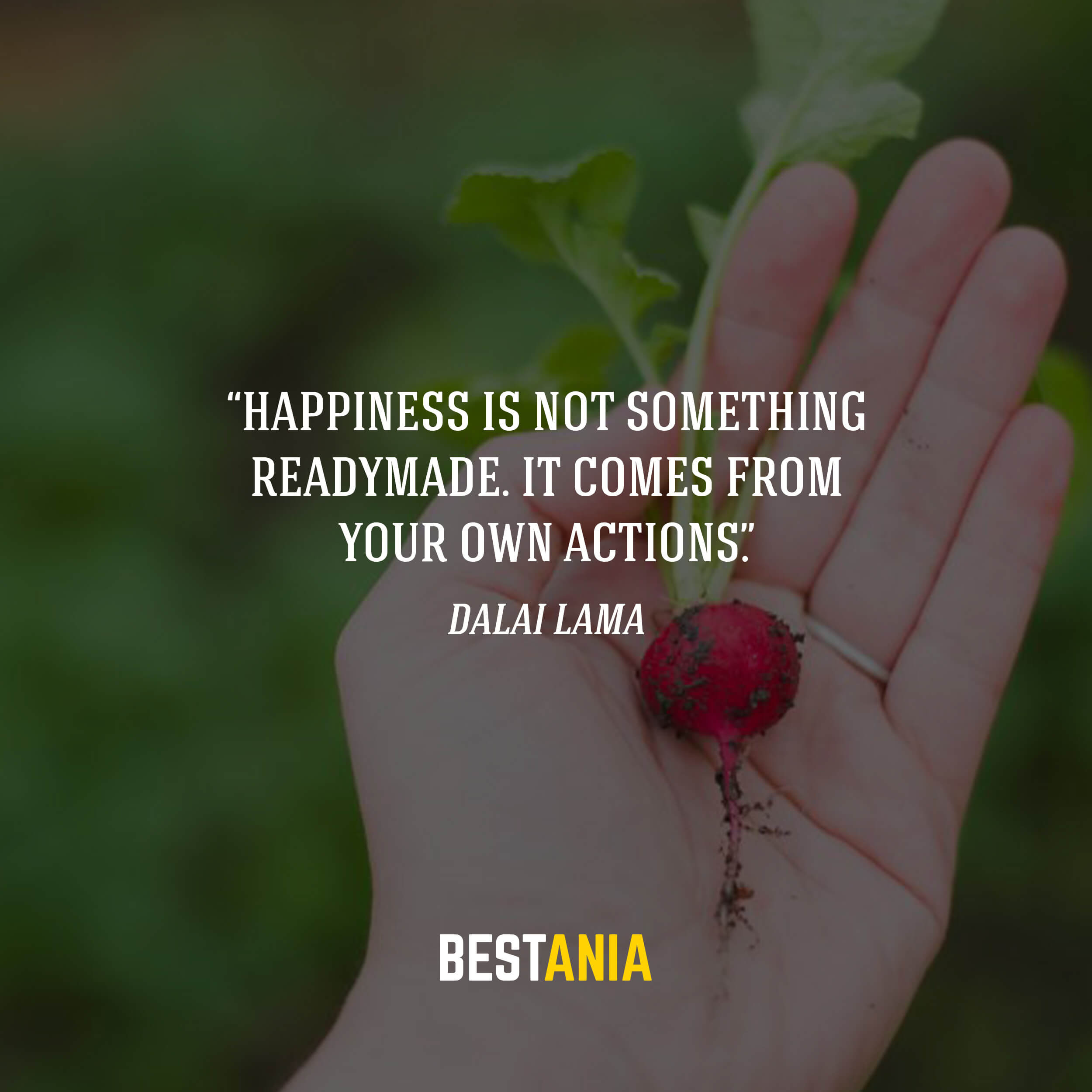 """Happiness is not something readymade. It comes from your own actions."" – Dalai Lama"