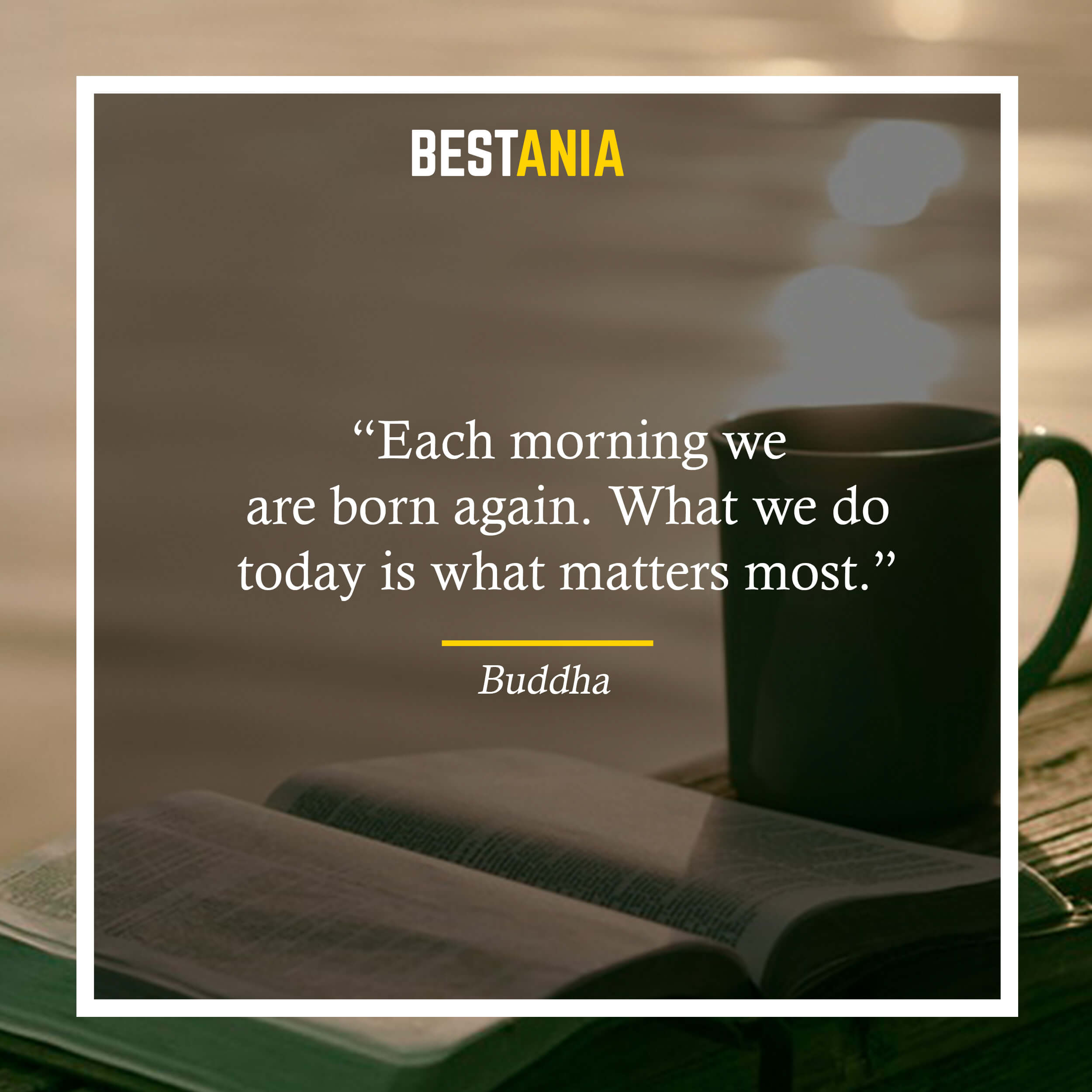 """Each morning we are born again. What we do today is what matters most."" – Buddha"