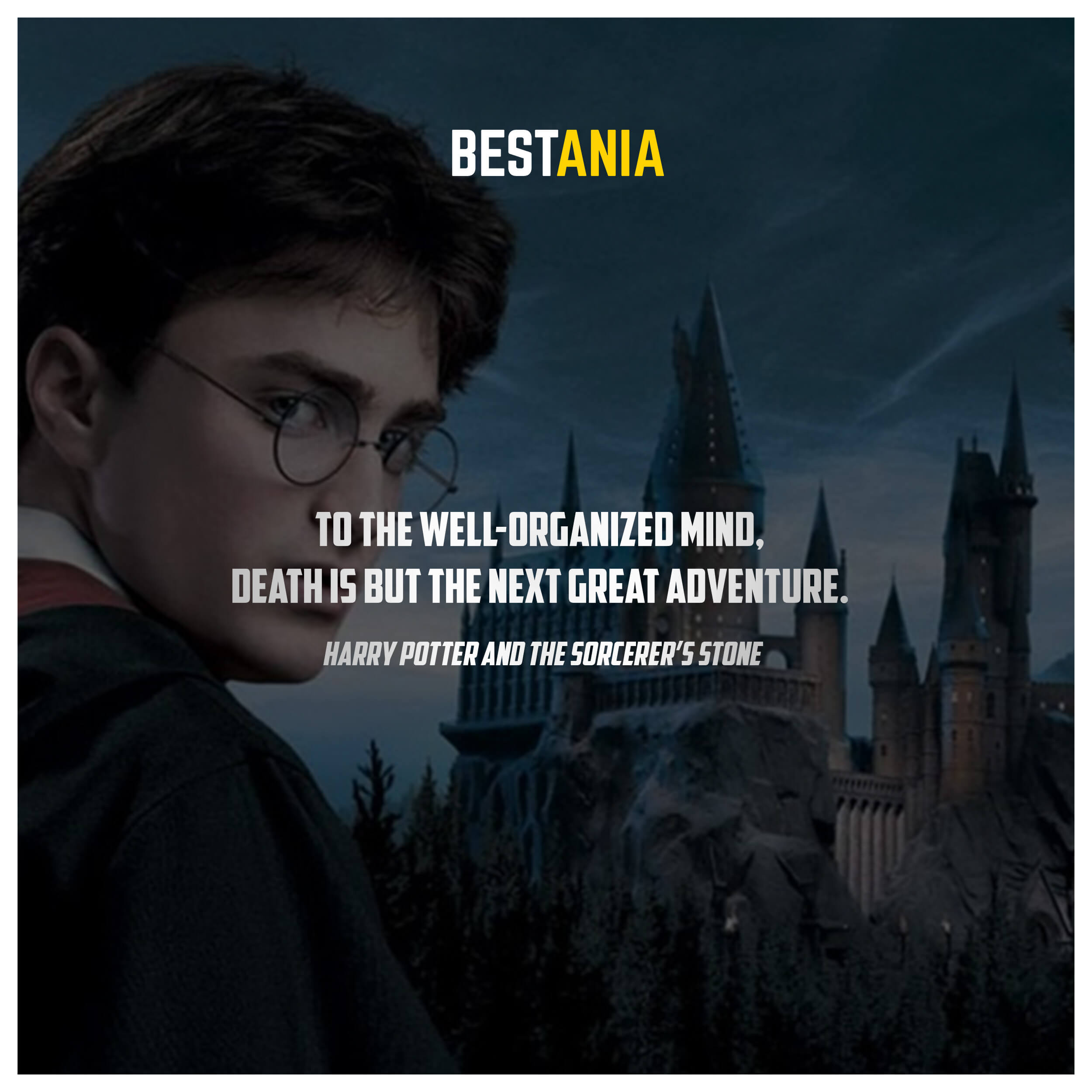 To the well-organized mind, death is but the next great adventure. – Harry Potter and the Sorcerer's Stone