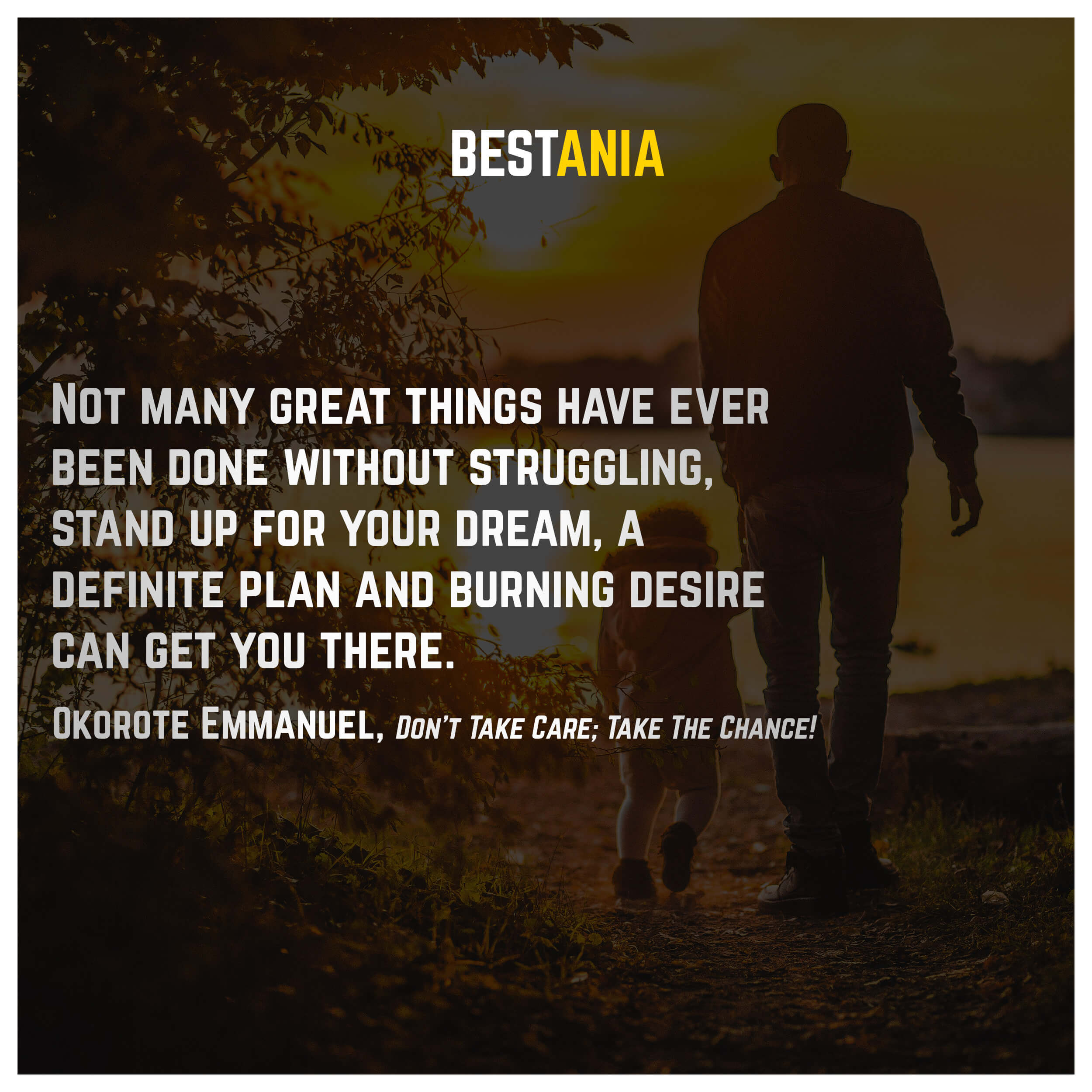 Not many great things have ever been done without struggling, stand up for your dream, a definite plan and burning desire can get you there.Okorote Emmanuel, Don't Take Care; Take The Chance!