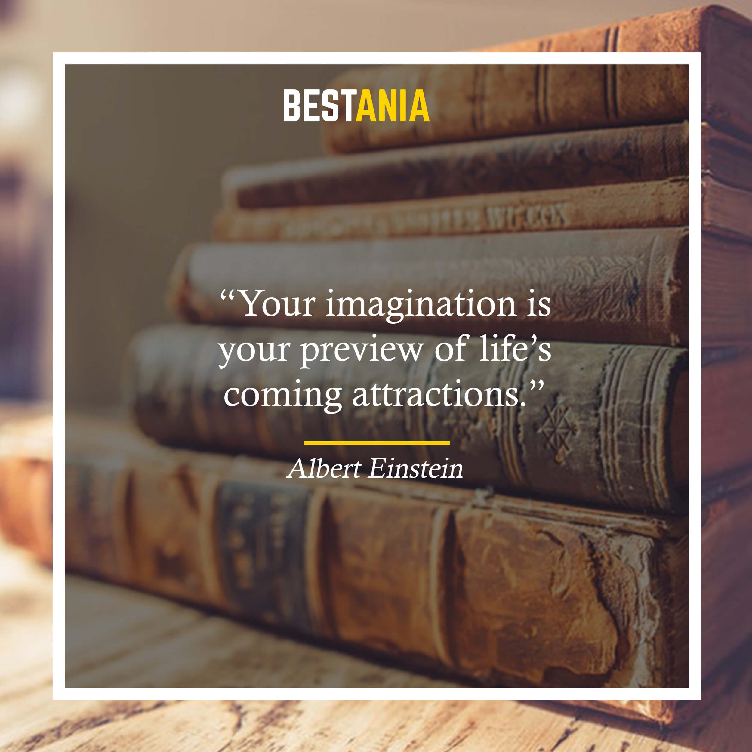 """Your imagination is your preview of life's coming attractions."" – Albert Einstein"