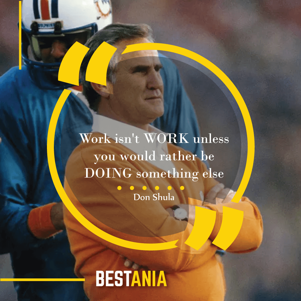 """""""Work isn't WORK unless you would rather be DOING something else,""""--Don Shula, Miami Dolphins"""