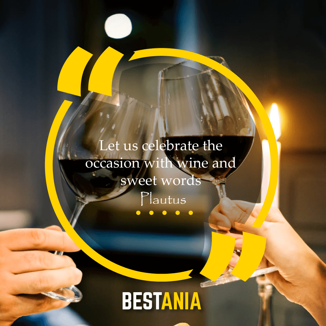 """Let us celebrate the occasion with wine and sweet words,"" – Plautus"