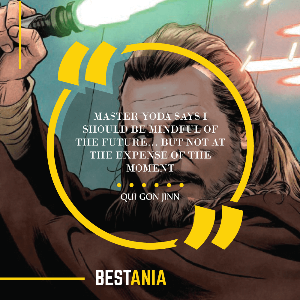 """MASTER YODA SAYS I SHOULD BE MINDFUL OF THE FUTURE… BUT NOT AT THE EXPENSE OF THE MOMENT."" – QUI GON JINN"