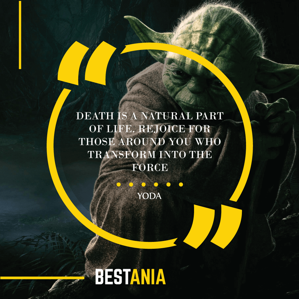 """DEATH IS A NATURAL PART OF LIFE. REJOICE FOR THOSE AROUND YOU WHO TRANSFORM INTO THE FORCE."" – YODA"