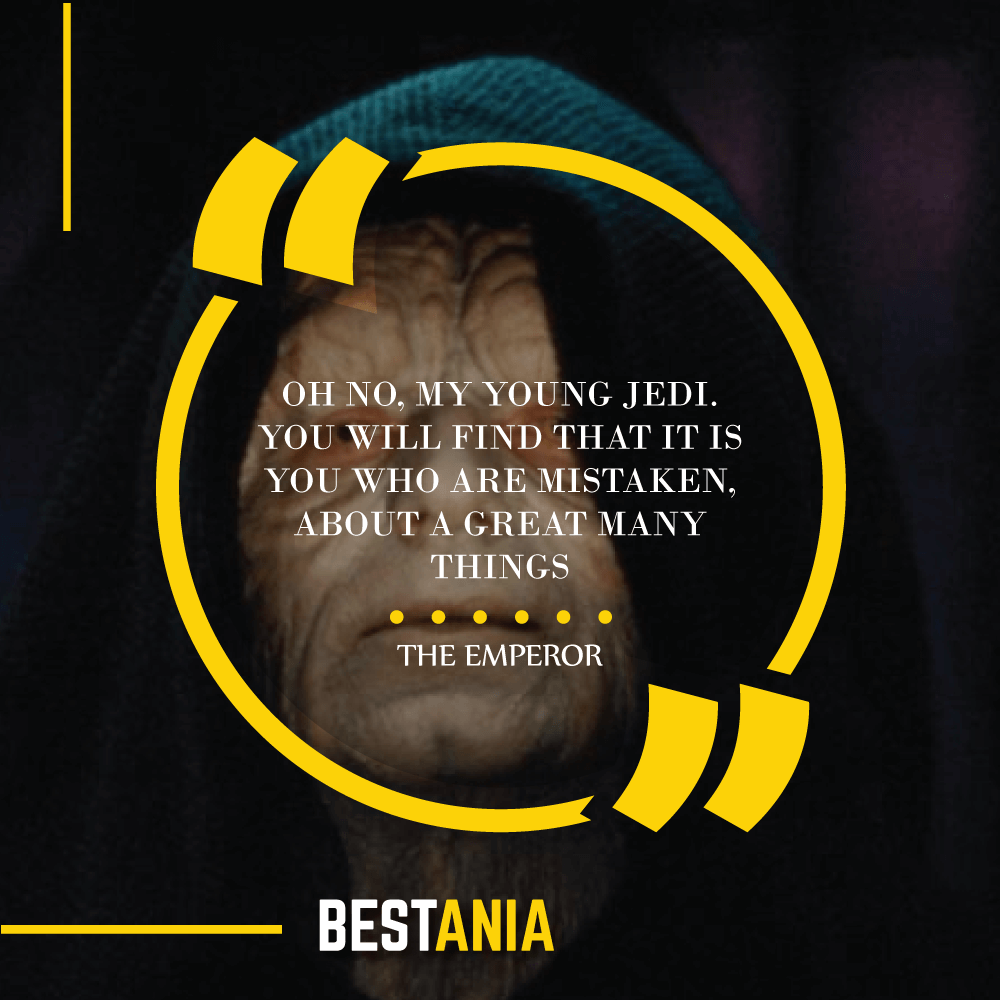 """OH NO, MY YOUNG JEDI. YOU WILL FIND THAT IT IS YOU WHO ARE MISTAKEN, ABOUT A GREAT MANY THINGS."" – THE EMPEROR"