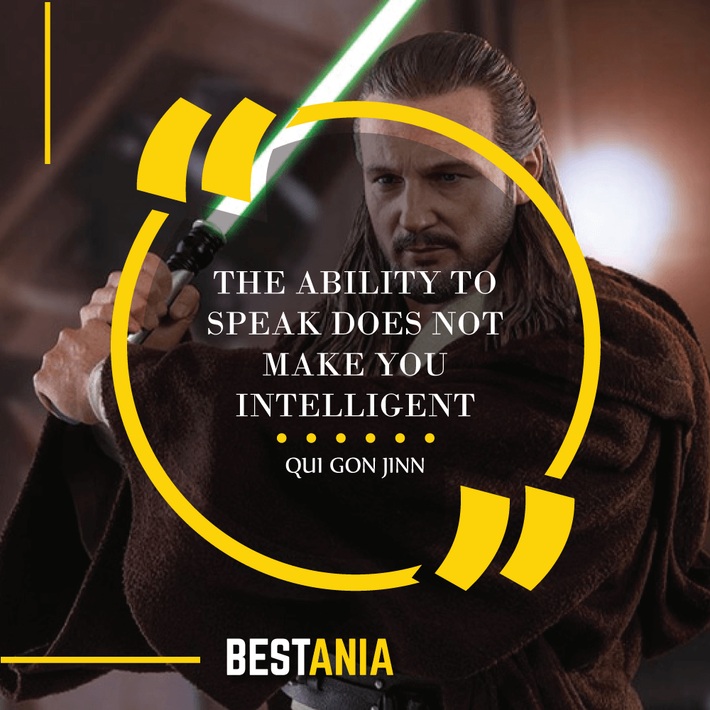 """THE ABILITY TO SPEAK DOES NOT MAKE YOU INTELLIGENT."" – QUI GON JINN"