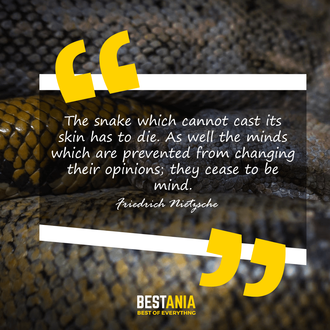 The snake which cannot cast its skin has to die. As well the minds which are prevented from changing their opinions; they cease to be mind. Friedrich Nietzsche
