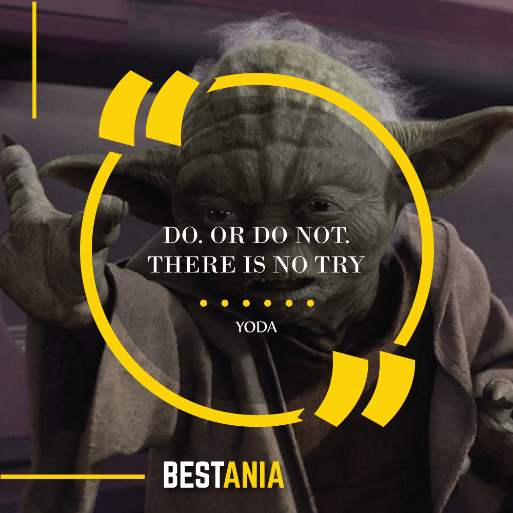 """DO. OR DO NOT. THERE IS NO TRY.""- YODA (The Empire Strikes Back)"